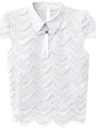 Блузка школьная с гипюром р. 152