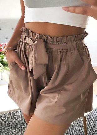Женские шорты с высоким поясом  из ткани zara(36)