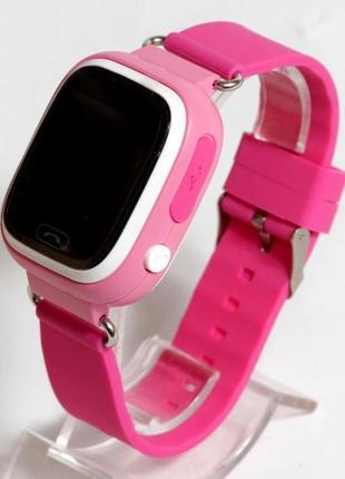 Детские умные смарт часы с gps q90-plus. розовые