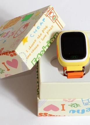 Детские умные смарт часы с gps  q90-plus. оранжевые3 фото
