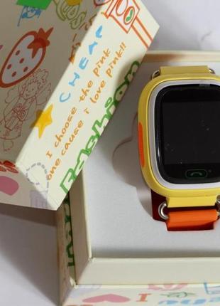Детские умные смарт часы с gps  q90-plus. оранжевые4 фото