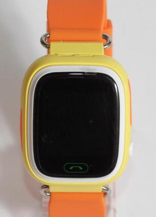 Детские умные смарт часы с gps  q90-plus. оранжевые6 фото