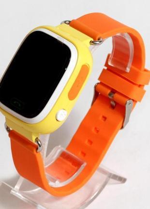 Детские умные смарт часы с gps  q90-plus. оранжевые7 фото