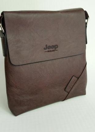 Стильная мужская сумка jeep в наличии коричневый