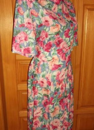 Платье яркое пояс кокетка  - миди р. l- classics