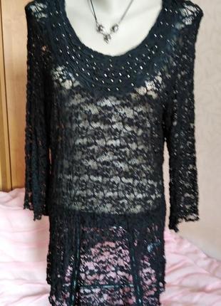 Нарядная гипюровая блуза - туника canda, размер-l