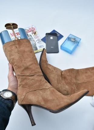 Via veneto оригинал!! made in italy женские сапожки на осень замшевые кожаные размер 39