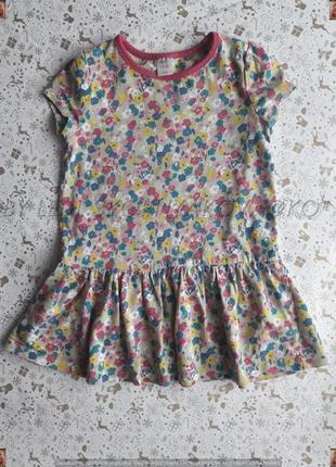 Новое платье в цветочном принте со 100 % хлопка на девочку 3-4 года