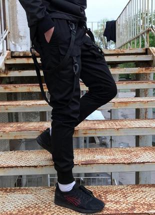 Брюки карго мужские черные