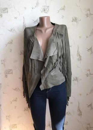 Замшевая куртка/замшевая косуха с бахромой, крутая косуха под замш с бахромой тренд