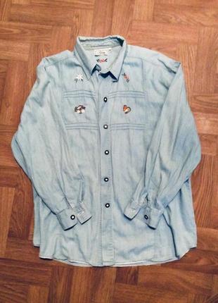 Джинсовая рубашка с вышивкой 🎋