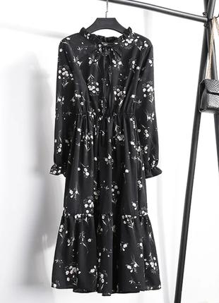 Черное платье миди midi летнее осеннее а-силуэт завышенная талия цветочный принт